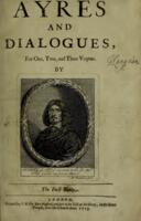 Book One: Ayres and dialogues, for one, two, and three voyces